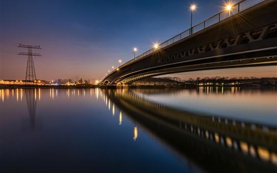 Wallpaper Germany, Berlin, bridge, river, night, lights