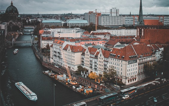 Wallpaper Germany, Berlin, city, bridge, river, cars, buildings