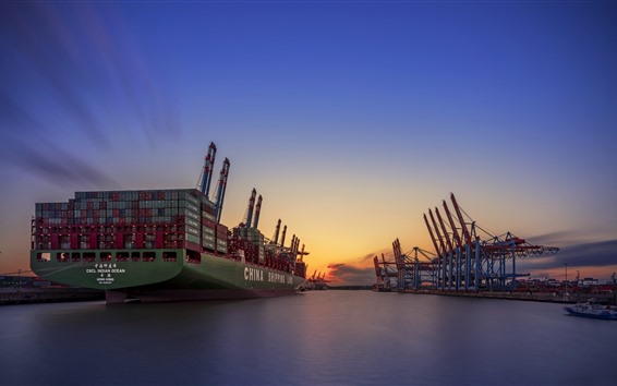 Wallpaper Germany, Hamburg, port, ship, sea, sunset