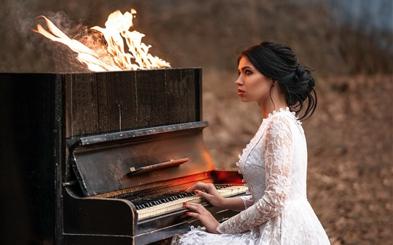 Wallpaper Girl play piano, fire, flame