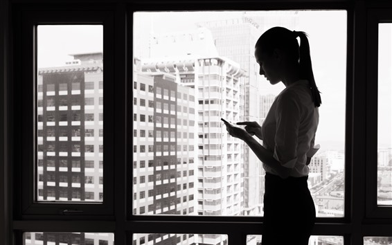 Wallpaper Girl use phone, window, black and white picture