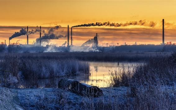 Wallpaper Grass, river, smoke, factory