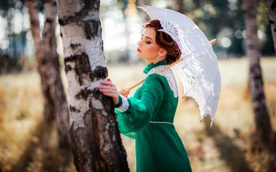 Papéis de Parede Menina saia verde, estilo retro, guarda-chuva, árvore
