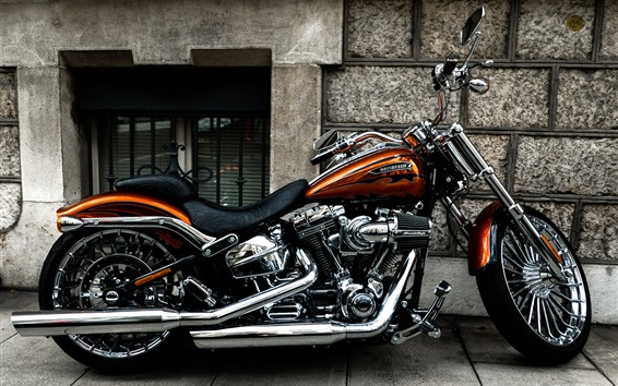 Wallpaper Harley-Davidson motorcycle, side view
