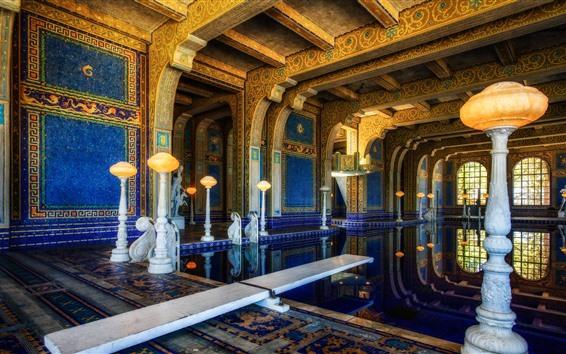 Обои Hearst замок, интерьер, бассейн, США