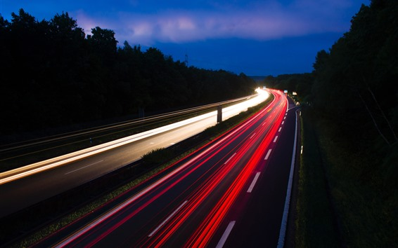 Papéis de Parede Rodovia, estrada, linhas de luz, noite