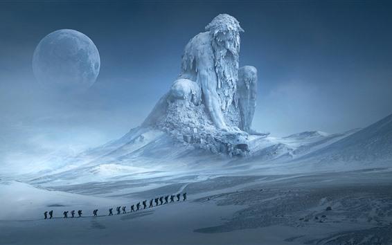 Wallpaper Huge statue, snow, winter, moon, art picture