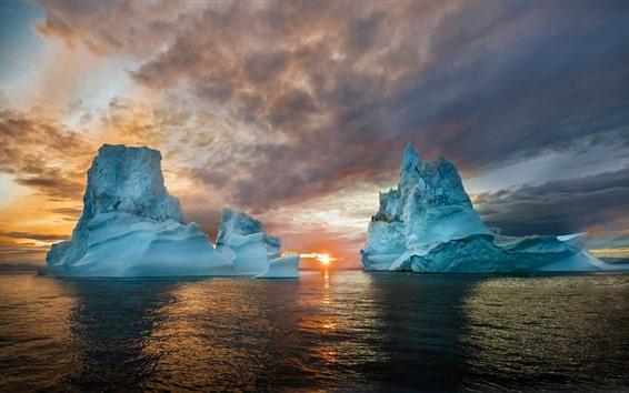 배경 화면 빙산, 바다, 일몰, 자연 풍경