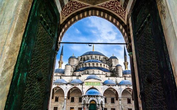壁紙 イスタンブール、トルコ、宮殿、ドーム、モスク、ゲート