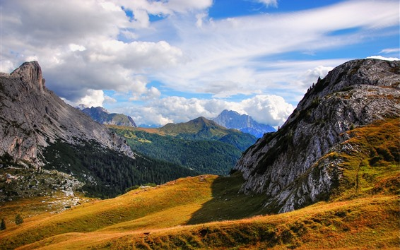 Wallpaper Italy, South Tyrol, mountains, grass, trees, clouds