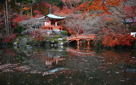 Wallpaper Japan, park, pagoda, bridge, pond, autumn