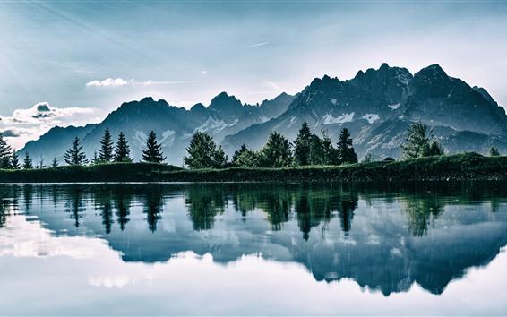 Обои Озеро, горы, отражение воды, природный ландшафт