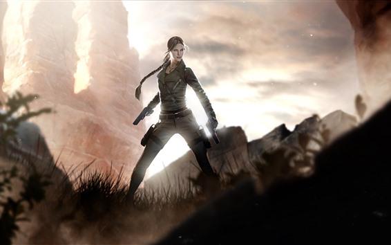 Fond d'écran Lara Croft, Tomb Raider, fille, arme à feu