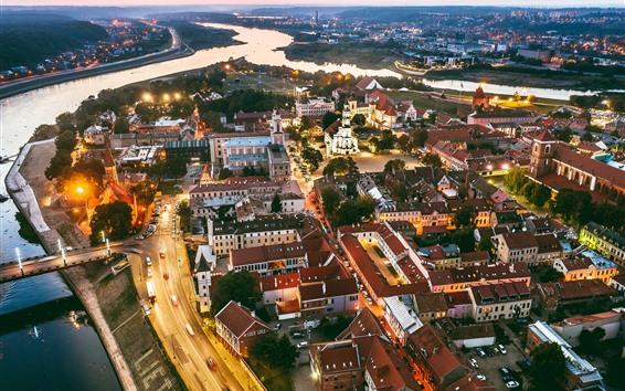 Fondos de pantalla Lituania, Kaunas, ciudad por la noche