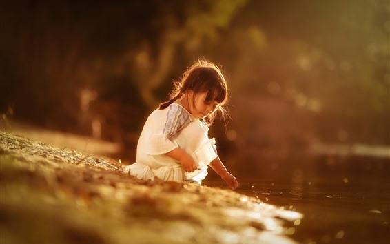 Papéis de Parede Menina, criança, lado da lagoa