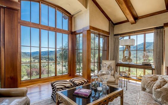 Wallpaper Living room, sofa, windows, bright