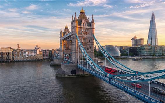 Wallpaper London, Tower Bridge, river, cars, UK