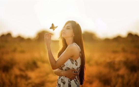 Wallpaper Long hair girl, butterfly, sunshine