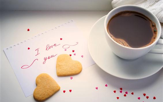 Wallpaper Love heart cookies, coffee, cup