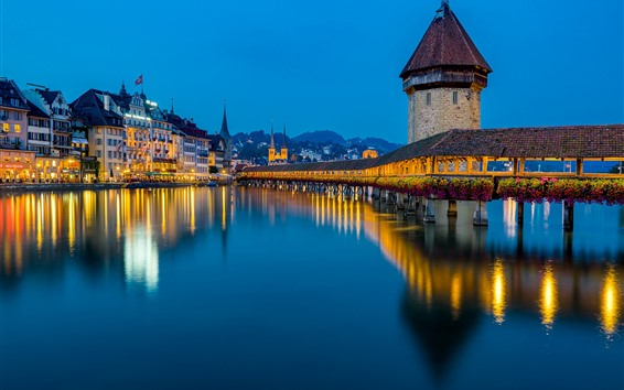 Wallpaper Lucerne, Reuss River, bridge, lights, night, Switzerland