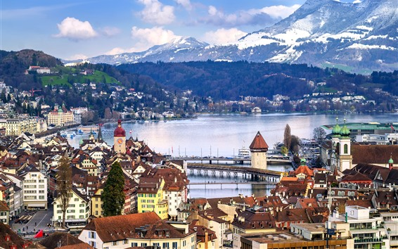Wallpaper Lucerne, Switzerland, city, river, bridge, houses, mountains