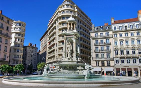 Обои Лион, Франция, город, статуя, памятник, фонтан