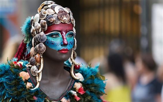 Wallpaper Makeup girl, face, colorful paint, decoration