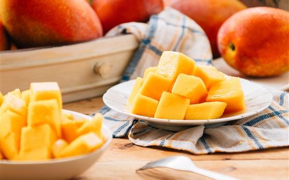 Wallpaper Mango blocks, delicious fruit