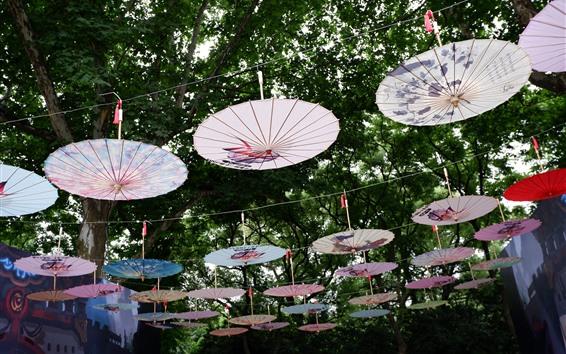 Fond d'écran Beaucoup de parapluies, culture chinoise