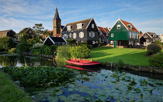 壁紙 マーケン、オランダ、村、住宅、川、草