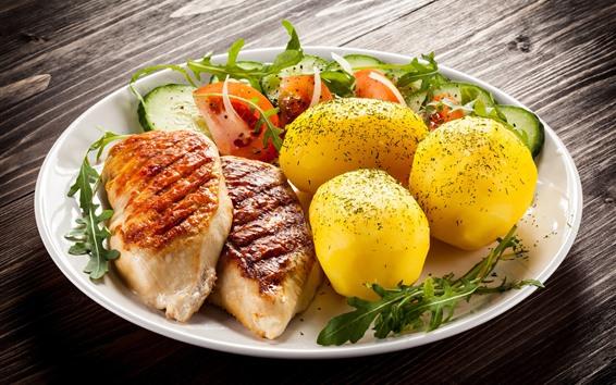 Wallpaper Meal, tomato, potato, meat