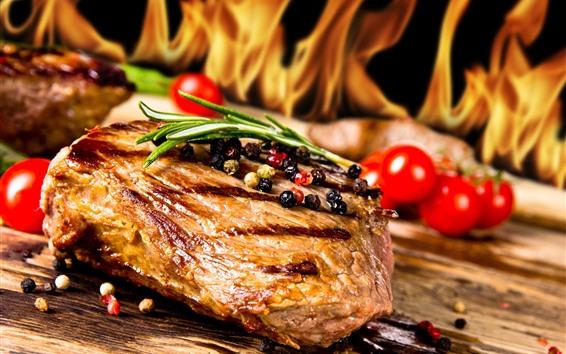 Papéis de Parede Carne, pimentos, comida