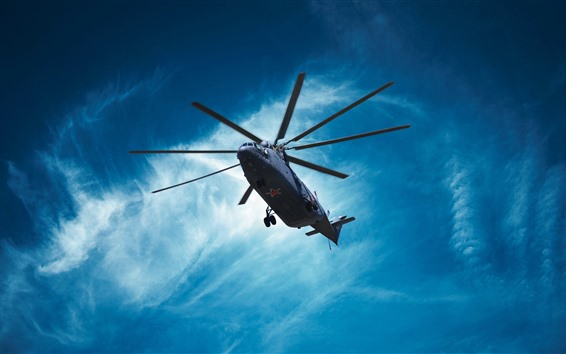 Wallpaper Mi-26 helicopter, blue sky, clouds