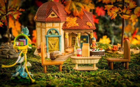 Papéis de Parede Micro mundo, caracol, bebidas, bolo, fotografia criativa