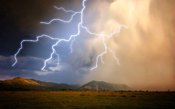 Wallpaper Mountains, grass, clouds, lightning, storm