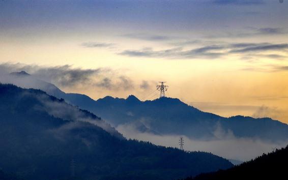 Wallpaper Mountains, power lines, clouds, dusk