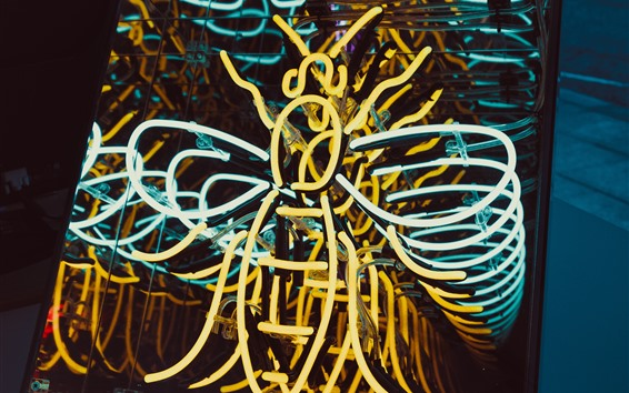 Wallpaper Neon lights, bee shaped