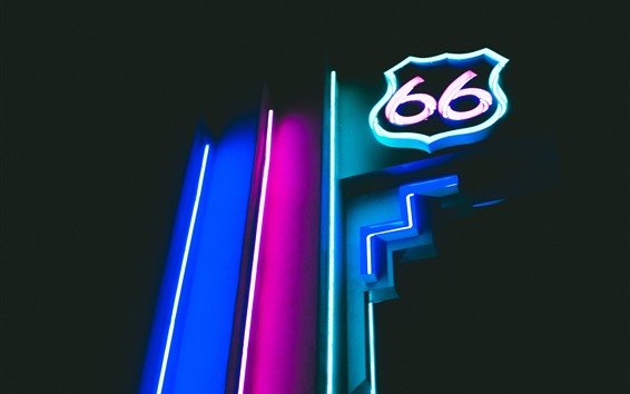 Papéis de Parede Luzes de néon, tabuleta, noite