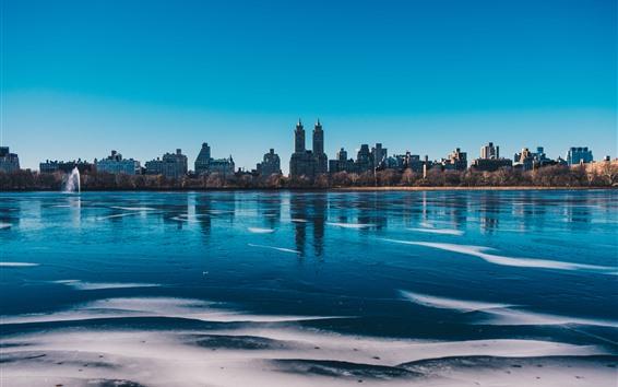 Wallpaper New York, Central Park, lake, buildings, city, USA