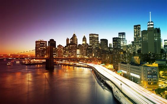 Wallpaper New York, Manhattan, skyscrapers, river, bridge, lights, city, night, USA