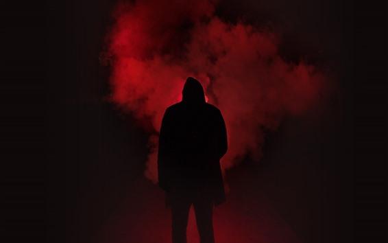 Papéis de Parede Noite, homem, silhueta, fumaça