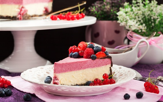 Wallpaper One slice cake, berries, dessert