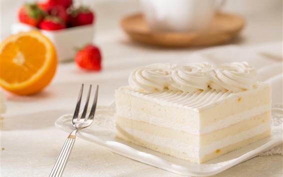 Fond d'écran Une tranche de gâteau, une fourchette, des oranges