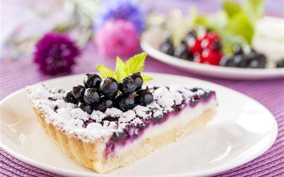 Обои Один кусочек торта, порошок, ягоды