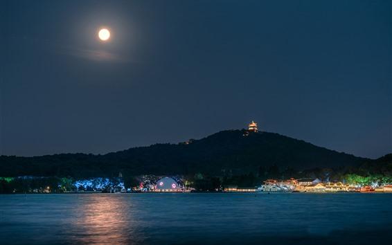 Wallpaper Park, night, lake, boats, lights, mountain, tower