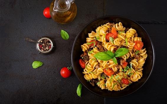 Wallpaper Pasta, oil, tomatoes, food