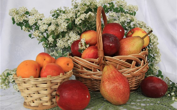 Wallpaper Pears, apples, apricots, basket, fruit