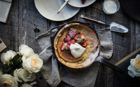 Обои Пирог, клубника, еда, белые розы