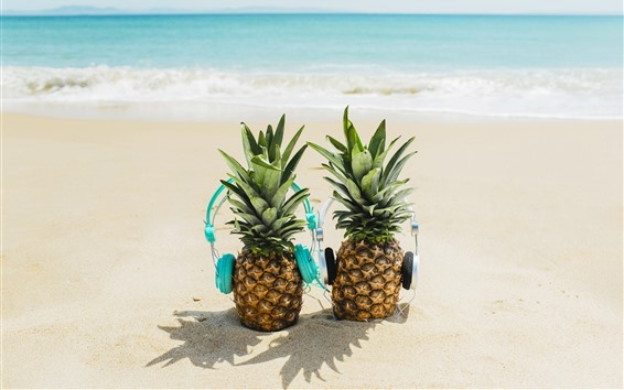 Wallpaper Pineapples, headphone, beach, sea