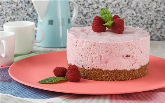 Fondos de pantalla Tarta rosa, crema, fresa.